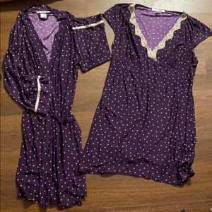 S/m Linea donatella 2 piece robe and nightgown set